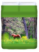 Horse Running In Spring Woods Duvet Cover