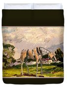 Horse Statue In The Field Duvet Cover
