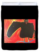 Horse With Crow And Snake At Sunset Duvet Cover