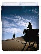 Horseback Riders In Silhouette On Sand Duvet Cover