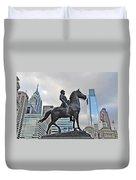 Horseman Between Sky Scrapers Duvet Cover by Bill Cannon