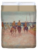 Horseman On The Beach Duvet Cover