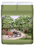 Horses And Wagon Duvet Cover