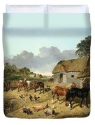 Horses Drinking From A Water Trough, With Pigs And Chickens In A Farmyard Duvet Cover