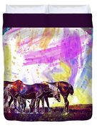 Horses Flock Pasture Animal  Duvet Cover