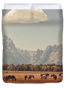 Horses Grazing In Front Of The Teton's Duvet Cover