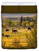 Horses Grazing In The Late Afternoon Duvet Cover