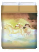 Horses In A Pearly Mist Duvet Cover