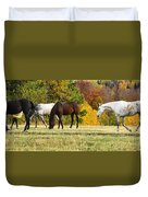 Horses In Autumn Duvet Cover