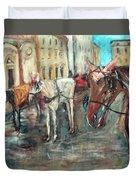 Horses In Florence Duvet Cover