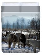 Horses In Front Of Quaggy Jo Duvet Cover