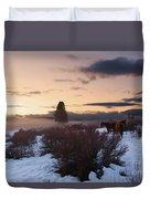 Horses In Snow At Sunset Duvet Cover