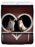 Horses In Stable Duvet Cover