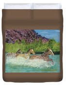 Horses In Stream Duvet Cover