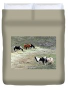 Horses In The Highlands Duvet Cover
