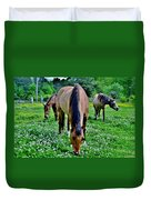 Horses In The Meadow Duvet Cover