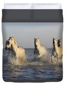 Horses In Water Duvet Cover
