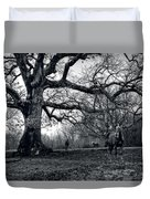 Horses On A Foggy Morning In Black And White Duvet Cover