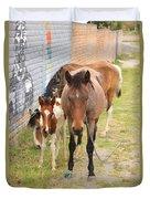 Horses On A Street Duvet Cover