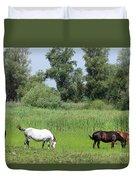 Horses On Pasture Nature Farm Scene Duvet Cover