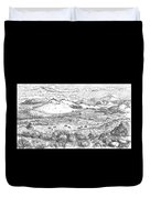 Horses On Summer Range Field Sketch Duvet Cover