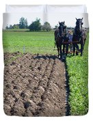Horses Plowing Rows  Duvet Cover