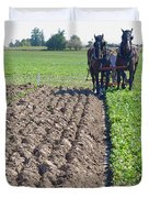 Horses Plowing Rows Two  Duvet Cover