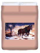 Horses Pulling Log Duvet Cover