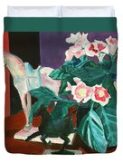 Horses With Floral Duvet Cover