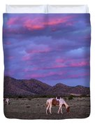 Horses With New Mexico Sunset Duvet Cover