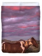 Horses With Southwest Sunset Duvet Cover