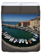 Horseshoe Pattern Of Moored Boats At The Inner Harbour Of Piran  Duvet Cover