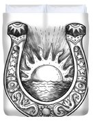 Horseshoe Sun And Sea Tattoo Duvet Cover