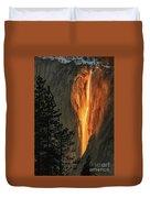 Horsetail Falls In Yosemite National Park Duvet Cover