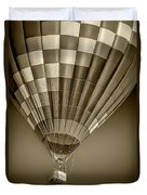 Hot Air Balloon And Bucket In Sepia Tone Duvet Cover
