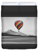 Hot Air Balloon And Longs Peak - Black White And Color Duvet Cover