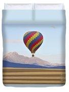 Hot Air Balloon And Longs Peak Duvet Cover