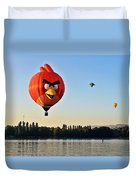 Hot Air Balloon Confronts Stand Up Paddleboarder Duvet Cover