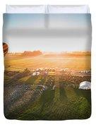 Hot Air Balloon Taking Off At Sunrise Duvet Cover