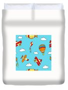 Hot Air Balloons And Airplanes Fly In The Sky Duvet Cover
