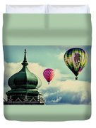 Hot Air Balloons Float Over Lewiston Maine Duvet Cover