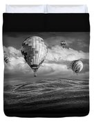 Hot Air Balloons In Black And White Over Fields Duvet Cover