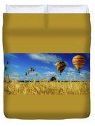 Hot Air Balloons Over A Wheat Field Duvet Cover