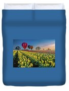 Hot Air Balloons Over Tulip Fields Duvet Cover