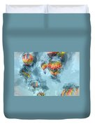 Hot Air Balloons Digital Watercolor On Photograph Duvet Cover
