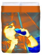 Hot Dude Cool Drink Duvet Cover