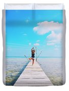 Hot Girl In White Jeans Doing Yoga On The Wooden Pier By The Sea Duvet Cover