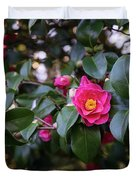 Hot Pink Camellias Glowing In The Shade Duvet Cover