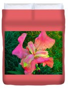 Hot Pink Iris Flower Duvet Cover