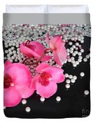 Hot Pink Orchids Duvet Cover
